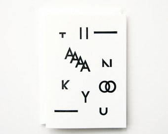Thank you - Letterpress Printed Greeting Card