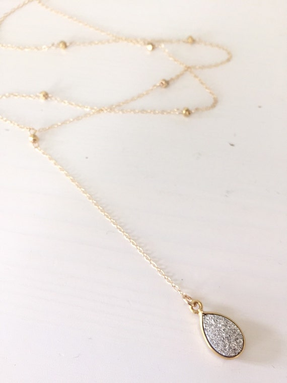 Long Gold Beads Necklace Long Beaded y Necklace/ 14k