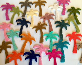 Wool Felt Palm Tree Die Cuts 25 - 1 5/8 inch Random Colored. 2526 - Summer crafts - DIY - Felt Supplies