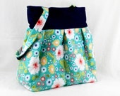 Large Pleated Bag, Green and White, Riley Blake, Apple of my Eye, Large Purse, Floral Print