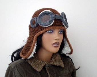 Crochet Aviator Hat Set with Goggles -Disney film 'Up'-Photo Prop and it a functioning hat - adult size