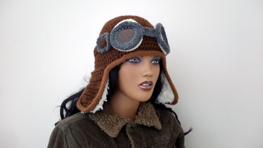 Crochet Aviator Hat Pattern With Goggles Dancox For