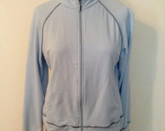 Misses Size 8 - 10 or Juniors Size 7 to 9 Medium Baby Blue Lightweight Zip Up Athletic Jacket