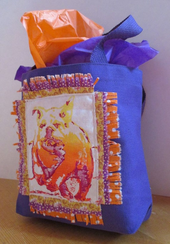 ENGLISH BULLDOG Tote Bag small Hand Printed OOAK,Purple Tote Bag,,Orange, yellow, Bulldog Tote