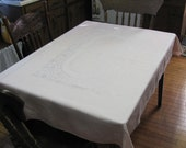 Vintage Pink Damask Dining Kitchen Tablecloth and Two Napkin Set