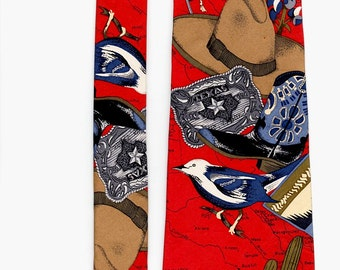 Vintage Mens Tie Cowboy Western Red Novelty Print Silk Roundtree York Neck Tie Mens Fashion Accessory