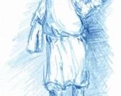 postcard No. 7 - A walking boy in blue