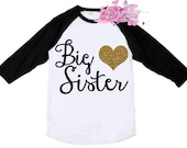Big Sister Shirt - Big Sis Shirt in Black, Pink or Blue Raglan with Glitter Heart - Big Sister Raglan