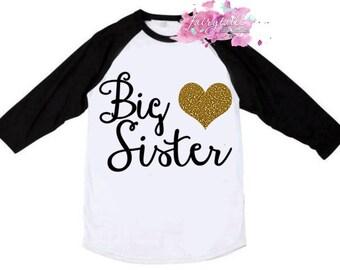 Big Sister Shirt - Big Sis Shirt in Black, Pink or Blue Raglan with Glitter Heart - Big Sister Raglan