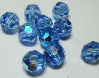 Vintage Swarovski 8mm Sapphire AB Faceted Beads (6)