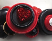 Valentine's Day Button Bracelet/ OOAK Bracelet/Love/Red/Black/Charm Bracelet/Statement Bracelet/Gift for Her/Expandable/Under 30 USD