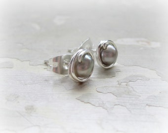 Silver Stud Earrings, Sterling Stud Earrings,June Birthstone, Pearl Post Earrings,Freshwater Pearl Earrings,Tiny Pearl Studs,Wire Wrap Posts