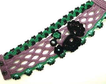 Irish Crochet Lace Jewelry (Butterfly 2-b) Crochet Bracelet, Fiber Jewelry, Wide Bracelet