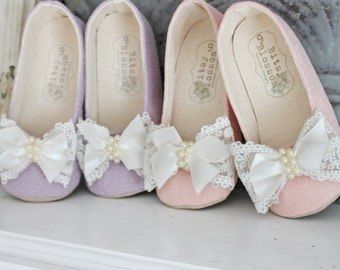 Toddler Girl Shoes Baby Girl Shoes Soft Sole Shoes Pink Shoes Purple Shoes Wedding Shoes Flower Girl Shoes Easter Shoes Lace Shoes- Isabella