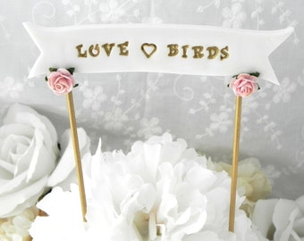 Wedding Cake Topper Banner - YOUR NAMES or Custom Phrase, White, Vintage Pink and Gold