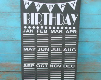 Birthday Calendar, Grandparent Gift, Teacher Gift,  Birthday Organizer, Chalkboard Sign,  Birthday Sign, Classroom Sign, Sign