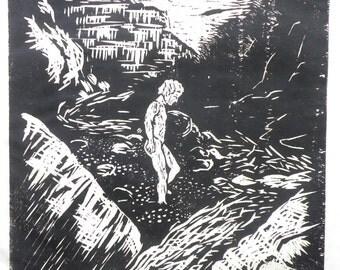 Nature boy, an original woodblock print