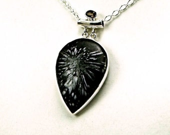 Unique Chrysanthemum Stone Sterling Silver Necklace - N807