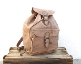 Leather Rucksack Backpack Large Light Brown 80s Daypack