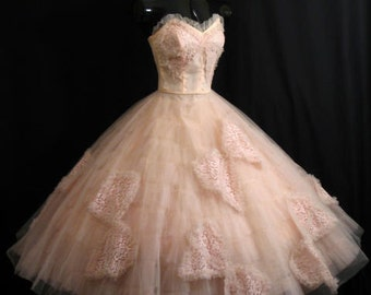 Vintage 50's 50s STRAPLESS Emma Domb Pink Tulle Lace Butterflies Party Prom Wedding DRESS Gown