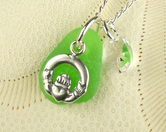 Irish Sea Glass Jewelry Claddagh Necklace Kelly Green Sea Glass
