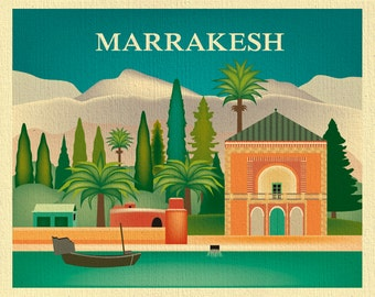 Marrakesh Skyline Art Print, Moroccan Poster, Morrocco Travel Wall Art, Marrakech Poster, Loose Petals City Art Print Gift - style E8-O-MARR