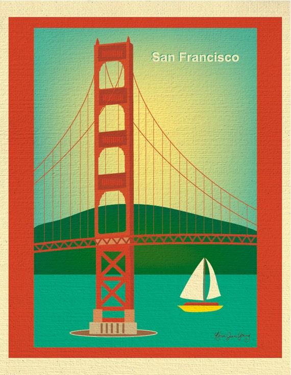 San Francisco Art Print, Golden Gate Bridge Skyline Print, San Francisco, CA Wedding Print, SF Baby Print, Loose Petals   - style E8-O-SF2