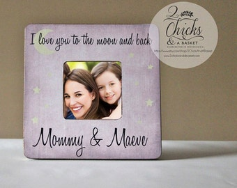 I Love You To The Moon & Back Personalized Picture Frame, Baby Shower Gift, Nursery Picture Frame