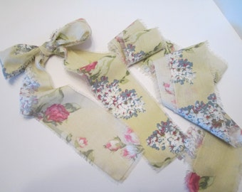 Handmade Fabric Ribbon -  Shabby Chic Pink Peonies and Lilacs - Repurposed Fabric - Eco Friendly - 9 Ft. 10 In.
