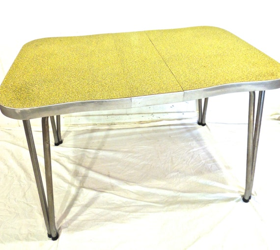 Vintage Chrome Kitchen Table: Vintage Chrome Dining Table 1950s Green Formica/chrome By Mkmack