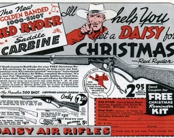 "Vintage Red Ryder - Daisy BB Gun Classic Ad - A Christmas Story - 11"" by 17"" poster/print"