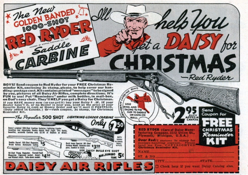 Vintage Red Ryder Daisy BB Gun Classic Ad A Christmas