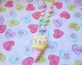 SALEKawaii Alpaca Ice Cream Cone Necklaces  Yellow X Pink WAS 16.00