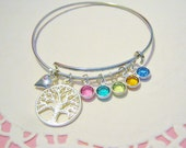 Personalized Family Tree with Swarovski birthstones, Alex and Ani inspired, Silver