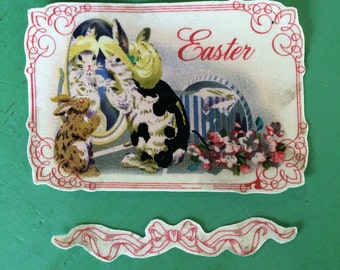 Vintage Easter Bunny rabbits with hats iron on applique