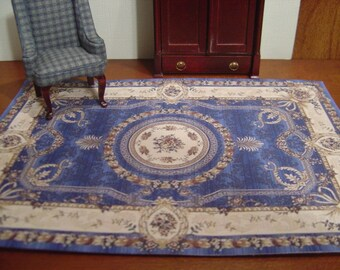 Dollhouse Aubusson rug blue brown beige 1:12 scale