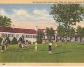 Golfing Ladies Hot Springs Arkansas Country Club - Vintage Linen Postcard Souvenir - National Park AR Memorabilia