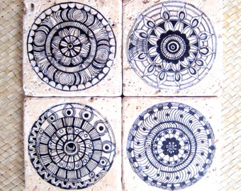 COASTERS CHAKRA design tile coasters-travertine tiles, set of 4, gift under 30, handmade gift Handmade with original artwork