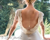 Back Drop Pearl Bridal Necklace and Earrings Set Backdrop Lariat Style in gold or silver tone - AMELIA