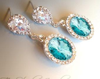 Turquoise Blue Bridesmaid Wedding Earrings - SONIA
