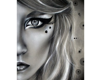 Original Charcoal Drawing - Framed 8x10 - Half portrait, circles, dots, black and white - Realistic, fashion, makeup, eye closeup, macro