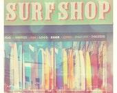 surfboard photo, Seaside Summer, surf shop photograph, beach lovers surfer, pastels purple pink mint green kids room, California photography