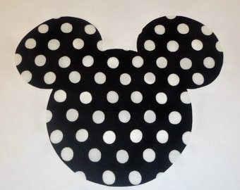 Iron On Applique BLACK And White Polka Dots MINNIE Mickey MOUSE