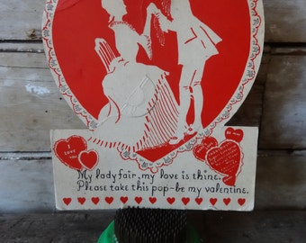 Vintage Valentine Red Heart Victorian Style Sweet 1940's  or Earlier Retro