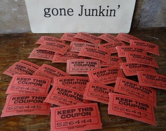 Vintage Carnival or Raffle Coupon Tickets Set of 30 Red