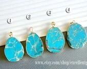 Gemstone pendant Emperor Jasper pendant 24kt,Gold Plated Edge Jasper slice pendant in turquoise color, jewelry making JSP- 5346