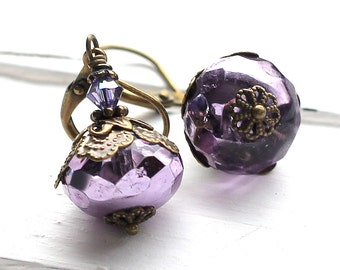 Violet Purple Glass Earrings, Vintage Style, Faceted Czech Glass Rondelles, Antique Brass Leverback, Swarovski Crystal