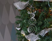 Snowman Ornament, Modern, Wire, Industrial, Silver,
