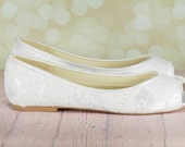 Lace Shoe - Lace Wedding Shoes - Lace Flats - Wedding Flats - Open Toe Flats - Lace Shoes - Lace - Flats - Avaialble In Over 250 Colors Shoe