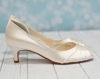 Wedding Shoes - Heel  1 3/4 Inch - Peep Toe Shoes - Choose From Over 200 Colors - Choose Heel Height - Parisxox - Short Heel Wedding Shoes